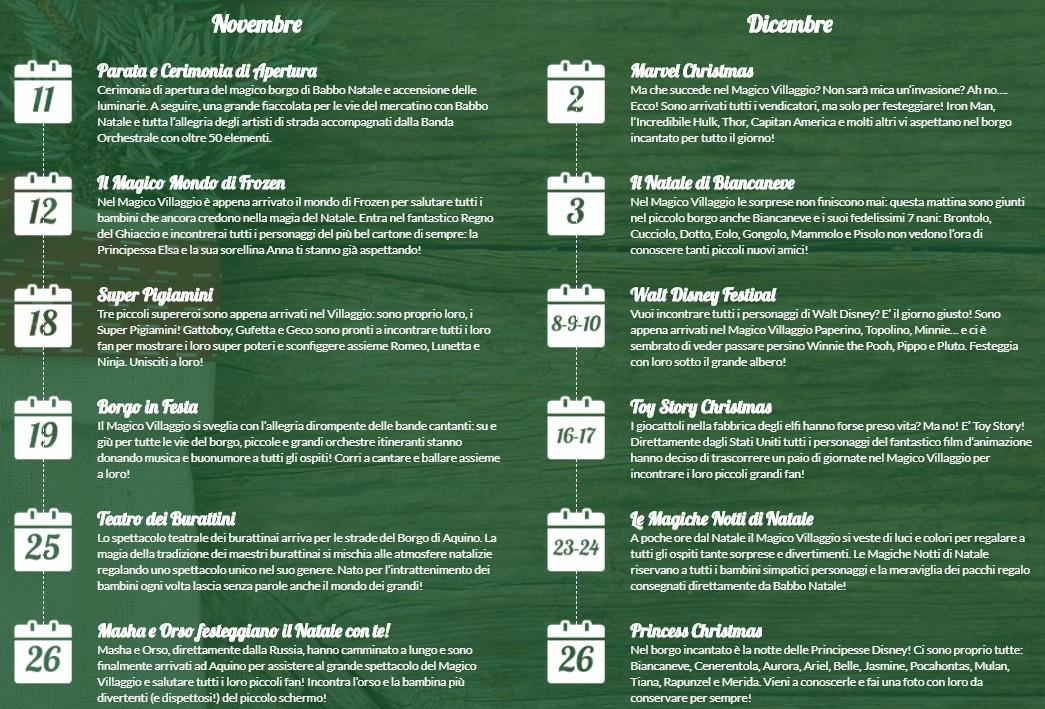 Elenco degli eventi del Villaggio di Babbo Natale ad Aquino